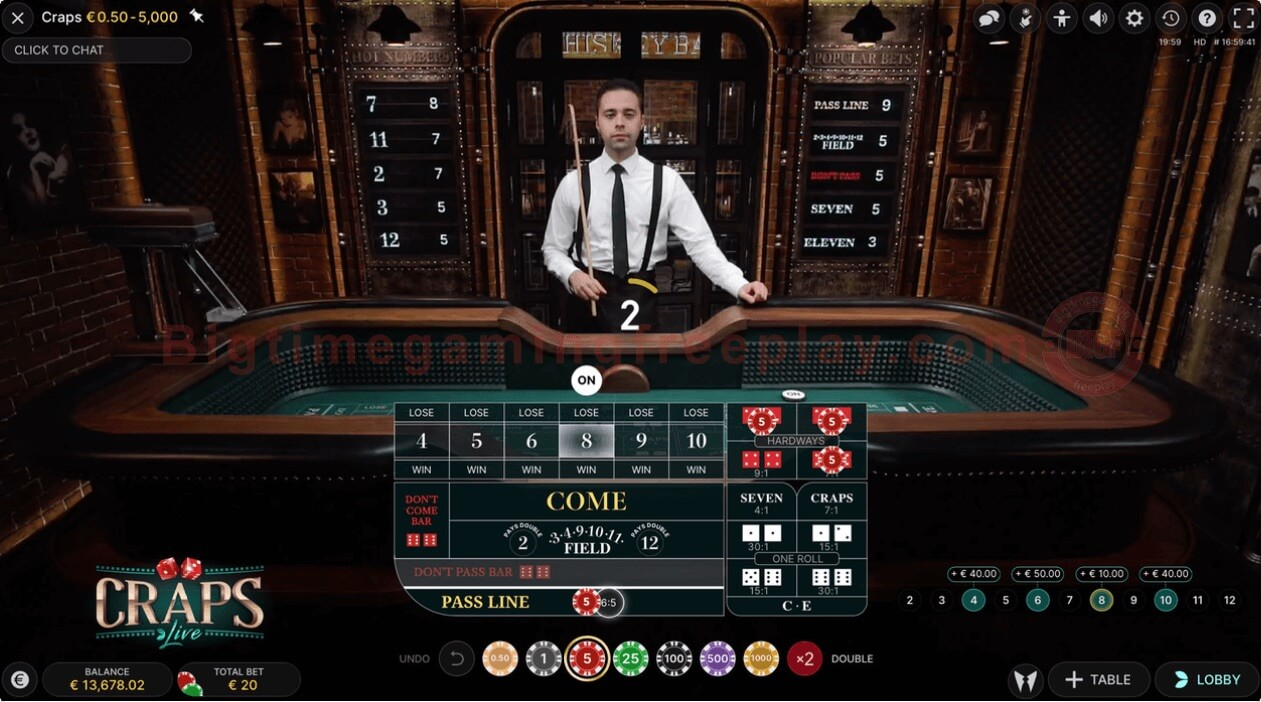 Live Craps Evolution Gaming Betting Options